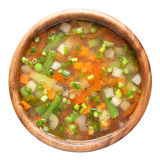 Vegetable soup in wooden bow Stock Images