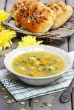 Vegetable soup on wooden table Stock Photo