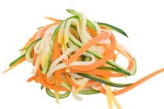 Vegetable Spaghetti. Carrot, zucchini and yellow summer squash spaghetti Stock Images