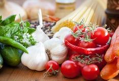 Vegetable and spaghetti pasta Stock Photos