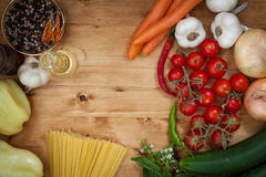 Vegetable and spaghetti pasta Stock Photo