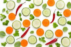 Vegetable and spices isolated on white background, top view. Wallpaper abstract composition of vegetables. Vegetable and spices isolated on white background, top stock photos