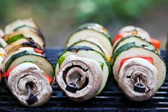 Vegetable spits on the grill. Several vegetable spits lie on the grill Royalty Free Stock Photo