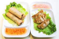 Vegetable Spring Rolls and Chicken Dumplings stock photos