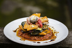 Vegetable stack - pumpkin, zucchini, red capsicum, eggplant and mushroom cooked in a tomato, onion, and garlic sauce topped with p Royalty Free Stock Images