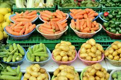 Vegetables. Carefully arranged Vegetable stall in Casablanca souk Royalty Free Stock Photo