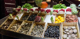 Vegetable stall. Fruits and vegetable stall in a market square Stock Photo