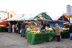 A vegetable stall on Chesterfield Market. Royalty Free Stock Image