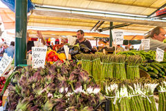 Vegetable stall in the Rialto Market, Venice. Stock Images