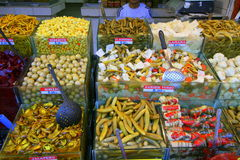 A variety of vegetables on market stall Stock Photo