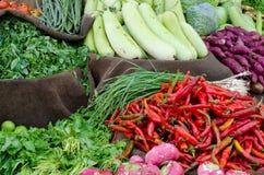 Vegetable stalls. Vegetables assortment at vegetable market stalls Stock Photography