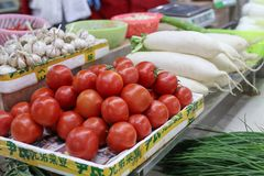 Vegetable stalls. Sell radish, tomatoes and other vegetables. At the farmer`s market Royalty Free Stock Photo