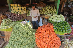 Vegetable stand. MYSORE - JANUARY 29 : Vegetable merchant is checking his inventory list just before the Mysore market opens its doors to public on January 29 Stock Images
