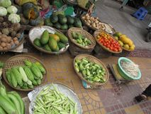 A vegetable stand in the local market royalty free stock photography