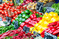 Vegetable stand at a market Royalty Free Stock Photo