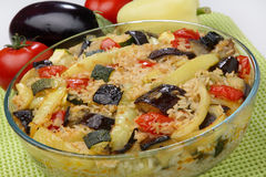 Vegetable stew. With eggplant in glass bowl Royalty Free Stock Photos