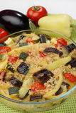 Vegetable stew. With eggplant in glass bowl Royalty Free Stock Photo