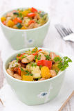 Vegetable stew with beans in the bowls Stock Images