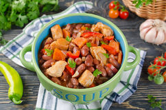Vegetable stew with chicken and beans Royalty Free Stock Images