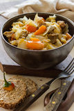 Vegetable stew with meat and potato. Bread Royalty Free Stock Image