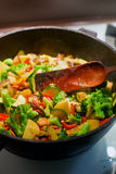 Vegetable stew. A pan with sliced eggplant, broccoli, zucchini and potato, it is preparation of tasty dinner royalty free stock image