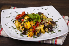Vegetable stew in plate, close up. Stock Image