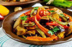 Vegetable stew salad: bell pepper, eggplant, asparagus beans, garlic, carrot, leek. Bright spicy aromatic dishes. Stock Photos
