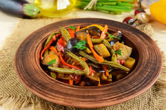 Vegetable stew salad: bell pepper, eggplant, asparagus beans, garlic, carrot, leek Stock Images