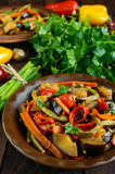 Vegetable stew salad: bell pepper, eggplant, asparagus beans, garlic, carrot, leek. Bright spicy aromatic dishes Stock Photography