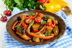 Vegetable stew salad: bell pepper, eggplant, asparagus beans, garlic, carrot, leek. Bright spicy aromatic dishes. Stock Photography