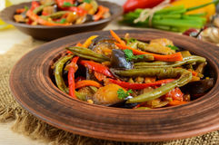 Vegetable stew salad: bell pepper, eggplant, asparagus beans, garlic, carrot, leek. Bright spicy aromatic dishes. Stock Images