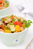 Vegetable stew with white beans, close-up Stock Images