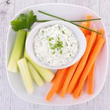 Vegetable stick. And cream spread royalty free stock photos