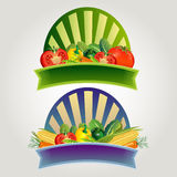 Vegetable Sticker. Label or sticker for product made by vegetable.nAdditional file in eps 10 file, with no gradient meshes, blends, opacity, stroke path, brushes royalty free illustration