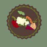 Vegetable sticker. Vegetables on a green background Vector Illustration