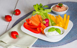 Vegetable sticks with herb and tomato dip Royalty Free Stock Images