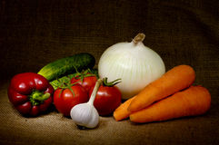 Vegetable Still Life. Artistic vegetable country-style still life with tomatoes, onion, bell pepper, cucumbers, carrots and garlic on burlap background Stock Photos