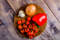 Vegetable still life on wood table. Background Royalty Free Stock Photos