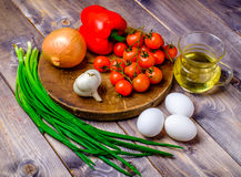 Vegetable still life on wood table. Background Stock Image