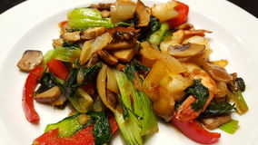 Vegetable stir fry. Casual meal with shrimp Stock Photography
