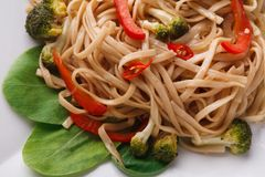 Vegetable stir fry with noodles in oriental style, closeup Stock Photo