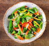 Vegetable stir fry in a plate. Royalty Free Stock Images