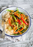Vegetable stir-fry and rice in an enamel plate Stock Images