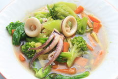 Vegetable stir and squid Royalty Free Stock Images