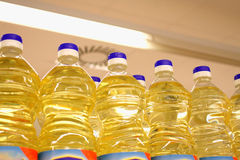 Vegetable or sunflower oil in plastic bottles Royalty Free Stock Images