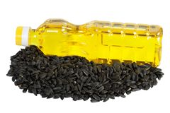 Vegetable sunflower oil and sunflower Royalty Free Stock Photos