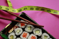 Vegetable sushi in black take out tray Royalty Free Stock Photo