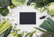Vegetable tablet pc mockup Royalty Free Stock Photos