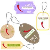 Vegetable tag and farm market veggies price labels Stock Images