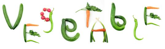 VEGETABLE TEXT. On white background Royalty Free Stock Photography